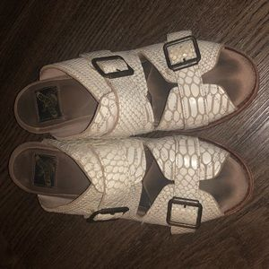 "Freebird ""Caprice"" White Snake Sandals"